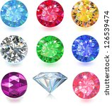 Set of colored gems isolated on white background - stock vector