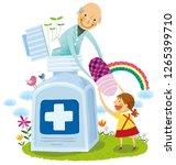 elderly man giving girl child...   Shutterstock .eps vector #1265399710