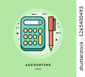 accounting  calculator and pen  ... | Shutterstock .eps vector #1265400493