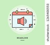 deadline  flat design thin line ... | Shutterstock .eps vector #1265400553