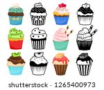 cupcake set vector illustration.... | Shutterstock .eps vector #1265400973