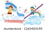 boy and girl brushing teeth   Shutterstock .eps vector #1265403190