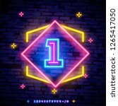 number one symbol neon sign... | Shutterstock .eps vector #1265417050
