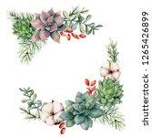 watercolor winter bouquet with... | Shutterstock . vector #1265426899