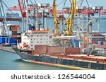 container stack and ship under... | Shutterstock . vector #126544004
