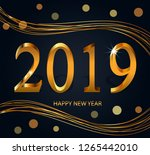 happy new year 2019   new year... | Shutterstock .eps vector #1265442010