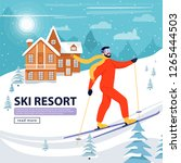 ski resort banner illustration... | Shutterstock .eps vector #1265444503