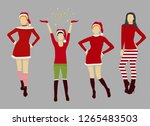 four christmas red costume... | Shutterstock .eps vector #1265483503