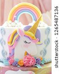 details  of a unicorn cake    ... | Shutterstock . vector #1265487136