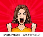 girl or young woman screaming... | Shutterstock .eps vector #1265494810