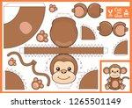 cut and glue the paper a cute... | Shutterstock .eps vector #1265501149