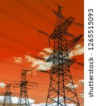 high voltage  power lines at... | Shutterstock . vector #1265515093