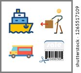 shipment icon. van and barcode... | Shutterstock .eps vector #1265517109