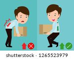 correct lifting posture and... | Shutterstock .eps vector #1265523979