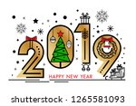 happy new year 2019  greeting... | Shutterstock .eps vector #1265581093
