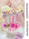 unicorn cake pops with flowers... | Shutterstock . vector #1265595550