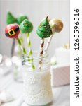 christmas decorated cake pops ... | Shutterstock . vector #1265596516