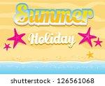 beautiful summer beach... | Shutterstock .eps vector #126561068