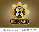 golden emblem or badge with... | Shutterstock .eps vector #1265628139
