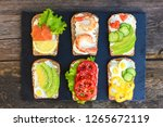 of different sandwiches on... | Shutterstock . vector #1265672119