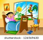 little girl woke up in a... | Shutterstock .eps vector #126569630