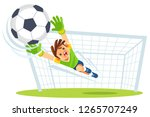 goalkeeper catches the ball.   Shutterstock .eps vector #1265707249