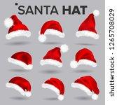 santa hat set. santa claus... | Shutterstock . vector #1265708029