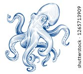 vintage octopus. hand drawn... | Shutterstock .eps vector #1265713909