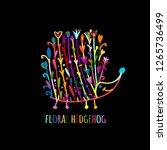 floral hedgehog  logo set for... | Shutterstock .eps vector #1265736499