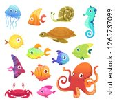 underwater animals. ocean sea... | Shutterstock .eps vector #1265737099