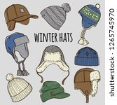set of 9 winter colored caps... | Shutterstock .eps vector #1265745970