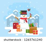 snowman winter theme with cat... | Shutterstock .eps vector #1265761240