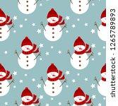 seamless snowman pattern vector ... | Shutterstock .eps vector #1265789893