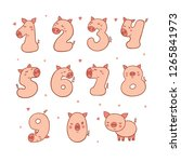 numbers with cartoon pig... | Shutterstock .eps vector #1265841973