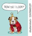 bulldog cartoon illustration in ... | Shutterstock .eps vector #1265860129