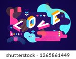 love colored memphis style.... | Shutterstock .eps vector #1265861449