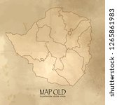 old zimbabwe map with vintage... | Shutterstock .eps vector #1265861983