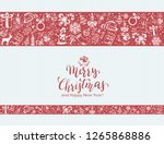 merry christmas with decorative ... | Shutterstock . vector #1265868886