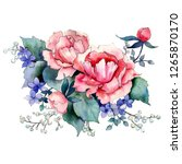 pink peony bouquet. floral... | Shutterstock . vector #1265870170