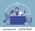 florist lady sells  grows home... | Shutterstock .eps vector #1265878060