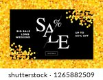 gold sale background in frame.... | Shutterstock .eps vector #1265882509