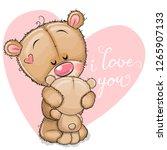 cute cartoon mother bear is... | Shutterstock .eps vector #1265907133