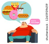 sad obese man think to how to... | Shutterstock .eps vector #1265939659