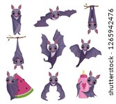 collection of funny purple bats ... | Shutterstock .eps vector #1265942476