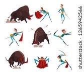 toreador with red cape and... | Shutterstock .eps vector #1265942566