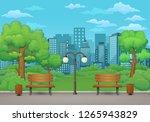 summer  spring day park scene.... | Shutterstock .eps vector #1265943829