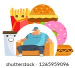 fat man eating fast food... | Shutterstock .eps vector #1265959096
