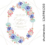 floral wedding invitation with... | Shutterstock .eps vector #1265981203