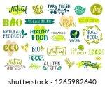 set of healthy organic food... | Shutterstock . vector #1265982640