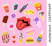 pop art fashion patches pins ... | Shutterstock . vector #1265991649